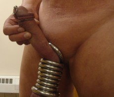Wearing my penis plug and ball rings in company restroom