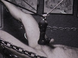 wrapped in leather / suspended in sling